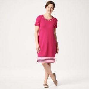 Quacker Factory Short Sleeve Striped Hem Dress